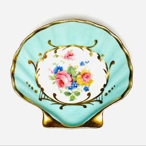 Limoges Hand Painted Shell Dish Turquoise Gold